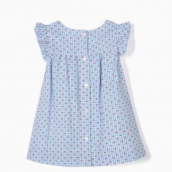 NEWBORN 'VICHY AND HEARTS' DRESS AND DIAPER COVER, BLUE