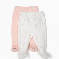 2 PANTS WITH FEET FOR NEWBORNS 'ANIMALS', PINK AND WHITE