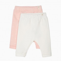 2 PANTS FOR NEWBORN 'LION', PINK AND WHITE