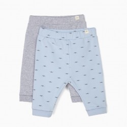 2 PANTS FOR NEWBORN 'LION', BLUE AND GRAY