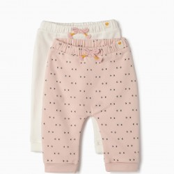 2 PANTS FOR NEWBORN 'SMILE', PINK AND WHITE