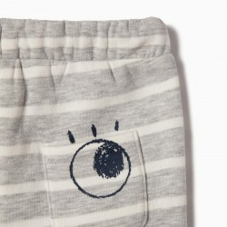 PANTS FOR NEWBORN 'STRIPES', GRAY AND WHITE