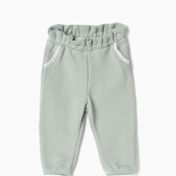 NEWBORN TERRY KNITTED PANTS, GREEN