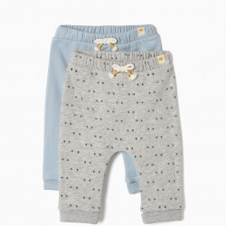 2 PANTS FOR NEWBORN 'SMILE', GRAY AND BLUE €