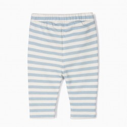 JERSEY PANTS FOR NEWBORN 'STRIPES', WHITE AND BLUE