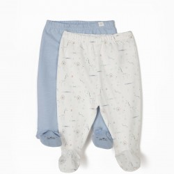 2 PANTS WITH FEET FOR NEWBORN 'ANIMALS', BLUE AND WHITE