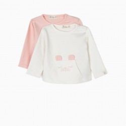 2 'ANIMALS' NEWBORN SWEATSHIRTS, PINK AND WHITE