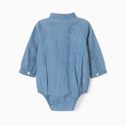BODY-SHIRT FOR NEWBORN 'COMFORT DENIM', BLUE