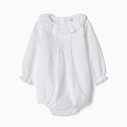 BODY-BLOUSE FOR NEWBORN 'RUFFLES AND LACE', WHITE