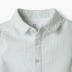 GREEN AND WHITE STRIPED BODY-SHIRT FOR NEWBORN