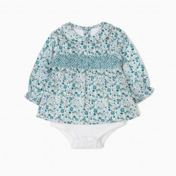BODY BLOUSE WITH FLOWERS FOR NEWBORNS, BLUE AND WHITE