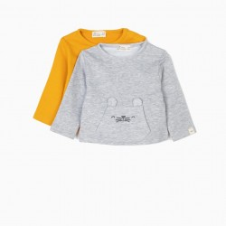2 SWEATSHIRTS FOR NEWBORNS' ANIMALS, GRAY AND TAN YELLOW