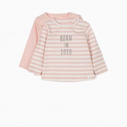 2 PINK 'BORN IN 2020' LONG SLEEVE T-SHIRTS FOR NEWBORNS, PINK