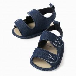 DENIM SANDALS FOR NEWBORN, BLUE