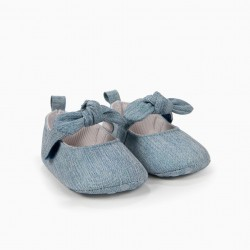 NEWBORN DENIM BALLERINAS WITH BOWS, BRIGHT BLUE