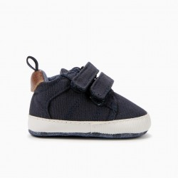 NEWBORN BABY SHOES WITH DOUBLE VELCRO, DARK BLUE