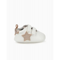 NEWBORN BABY SHOES 'STARS', WHITE AND BRONZE