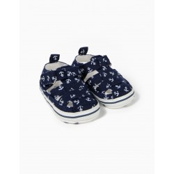 'ANCHORS' NEWBORN SANDALS, DARK BLUE