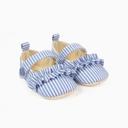 BLUE AND WHITE STRIPES AND RUFFLES NEWBORN BALLERINAS