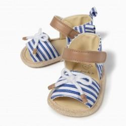 BLUE AND WHITE STRIPED NEWBORN SANDALS