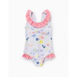 UV 60 PROTECTION SWIMSUIT FOR BABY GIRL 'SOLAR SYSTEM', WHITE