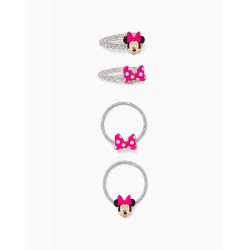 2 HAIR CLIPS + 2 BOBBLES FOR GIRLS, 'MINNIE MOUSE', SILVERY