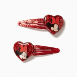 2 HAIRPINS FOR GIRL 'MINNIE', RED