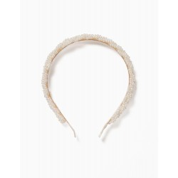 ALICE BAND WITH PEARLS FOR GIRLS, WHITE