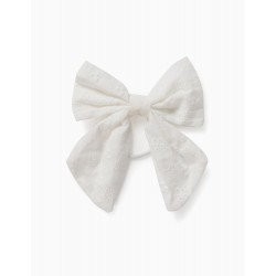 HAIR BOBBLE WITH BOW IN BRODERIE ANGLAISE FOR GIRLS, WHITE