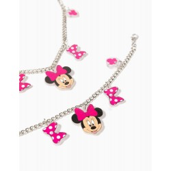 NECKLACE AND BRACELET FOR GIRLS, 'MINNIE MOUSE', SILVERY/PINK