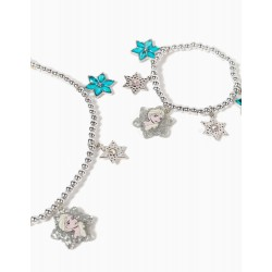 NECKLACE AND BRACELET WITH BEADS FOR GIRLS, 'FROZEN', SILVER