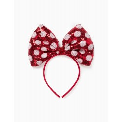 ALICE BAND FOR GIRLS, 'MINNIE MOUSE', RED