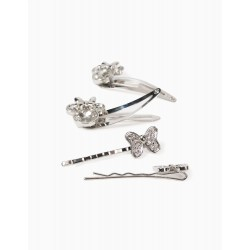 4 HAIR CLIPS FOR GIRLS, 'MINNIE MOUSE', SILVERY