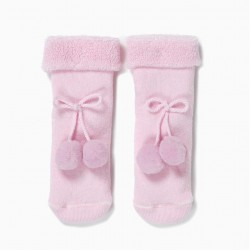 TERRY SOCKS FOR BABY GIRL WITH POMPOM, PINK