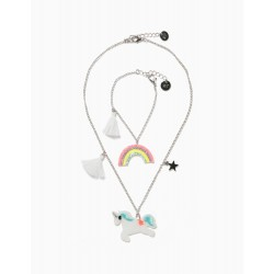 CHAIN AND BRACELET FOR GIRLS, 'UNICORN & RAINBOW', SILVERY