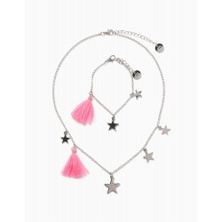 CHAIN AND BRACELET FOR GIRLS 'STARS', SILVERY