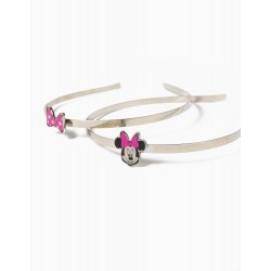 2 ALICE BANDS FOR GIRLS, 'MINNIE MOUSE', SILVER