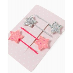 4 HAIR SLIDES FOR GIRLS, 'STARS', SILVERY/PINK