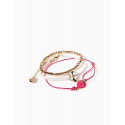3 BRACELETS FOR GIRLS, 'FLOWERS & STRAWBERRIES', GOLD/PINK/WHITE