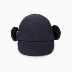 'ZY' NEWBORN CAP WITH EARMUFFS, DARK BLUE