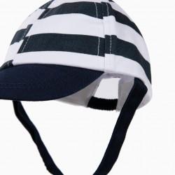 BLUE AND WHITE STRIPED NEWBORN CAP