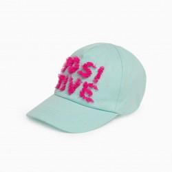 'POSITIVE' GIRL CAP, WATER GREEN