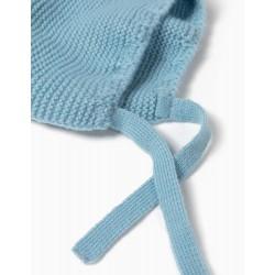 KNITTED BEANIE FOR NEWBORN BABY BOYS, LIGHT BLUE