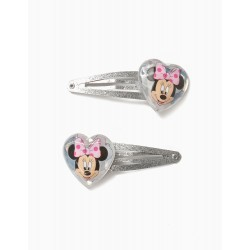 2 HAIRPINS FOR GIRL 'MINNIE', SILVER