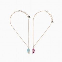 2 NECKLACES FOR GIRLS, 'MINNIE & DAISY', BLUE/PINK