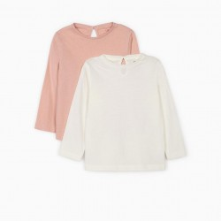2 LONG SLEEVE TOPS FOR BABY GIRLS, PINK/WHITE