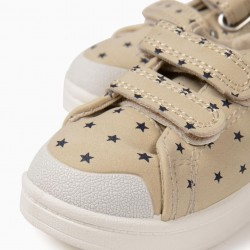 BABY GIRLS 'STARS' SNEAKERS WITH TWO SELF-ADHESIVE STRIPS, BEIGE