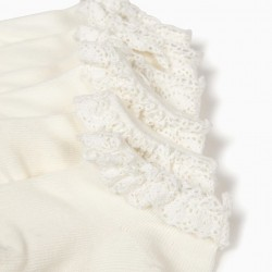 3 PAIRS OF LACE BABY GIRL SOCKS, PEARL WHITE