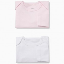 PACK 2 WHITE AND PINK LONG SLEEVE BODIES