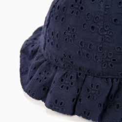 BABY GIRL HAT WITH ENGLISH EMBROIDERY, DARK BLUE